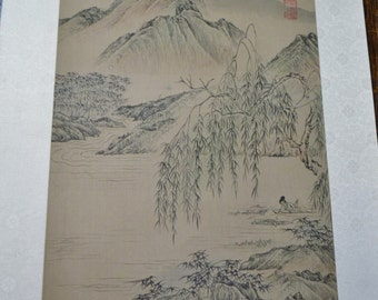 Vintage Silk Painting Mountain and Water Scene Geisha Signed Japanese Panchosporch