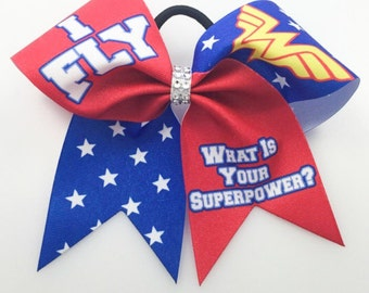 Custom Cheer Bow: I FLY, Super Hero Hair Bow, Personalized Cheer Bow, Softball Bow, Volleyball Bow, Whats your superpower