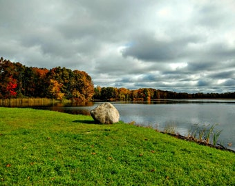 Autumn Water Decor, Water Photography, Lake House Decor, Lake Decor, Green Landscape Photo, Gray Clouds, Green Decor, Nature, Boulder Shore