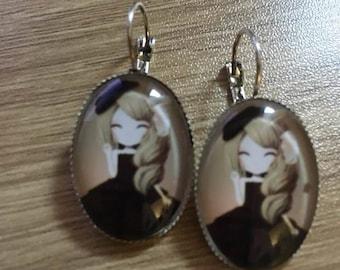 """girl"" earrings silver substrate"
