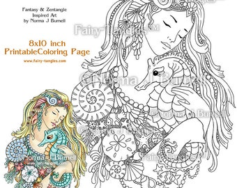 Deep Love Mermaid Seahorse Fairy Tangles Printable Coloring books Sheets Pages Norma Burnell Mermaids Digital Adult Coloring for Grownups