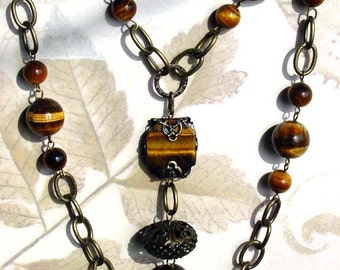 Tiger Eye Long  Adjustable Necklace with Pendant, Chain, Handmade Jewelry, 298