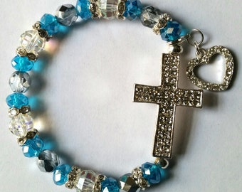 Religious Christian Jewelry Cross Heart Bracelet Religious Jewelry Christian Bling BR12