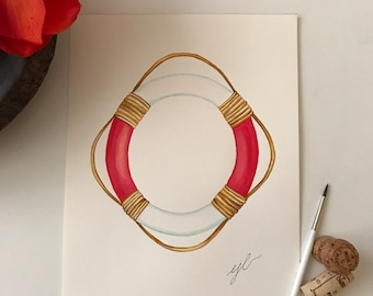"""Red lifesaver. An original watercolor painting on 90 lb. cold press paper. Size 9""""x 12"""" signed on front."""