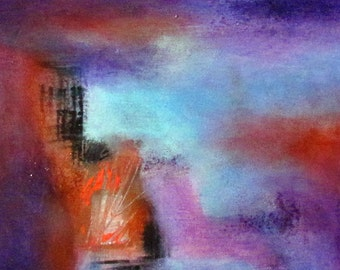 Original Art Painting Abstract Contemporary  Acrylic Paints Blue Reds Purple colors