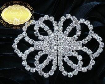 Interlock Silver Metal Crystal Pair Closure Clasp Buckle. Wedding Gown Bustle Clip, Rhinestone Embellishment.Hair accessories,FLower Center.