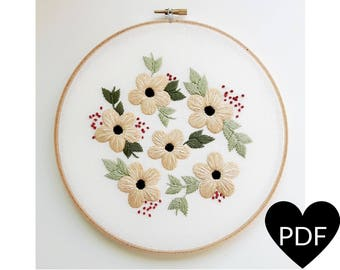 Summer Flowers Embroidery Pattern, PDF Pattern, Flower Hand Embroidery Pattern, Instant Download PDF, Printable Stitching Pattern