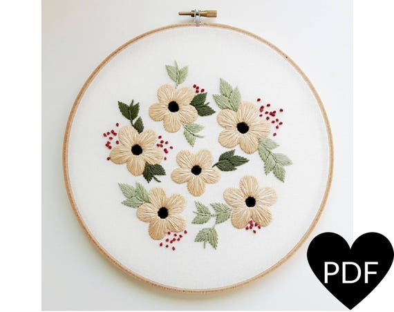 Summer Flowers Embroidery Pattern Pdf Pattern Flower Hand