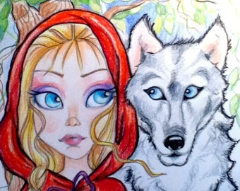 Red Ridng Hood and The Wolf  Big Eye Fantasy Fairytale Art Print  8.5 x 11