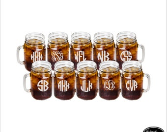 10 Mason Jars, SHIPS FAST, Personalized Mason Jars, Custom Mason Jar Glasses, Engraved Wedding Mason Jar Glasses, Drinking Mason Jars