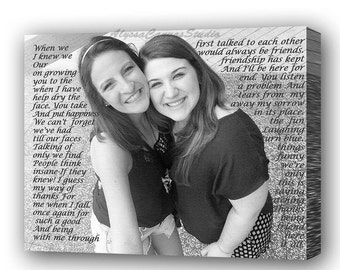 Sister birthday gift, Personalized Best Friend Gift, Photo to Canvas, Gift for Sister, Sister to Sister, Best friend birthday gift, Sisters