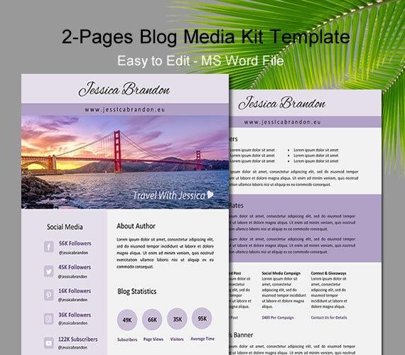 Blogger Media Kit Two Page Media Kit Media Kit Template