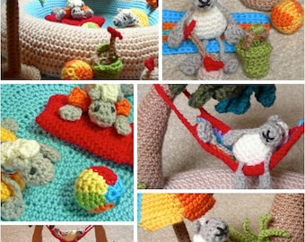 Sheep Dip Island PDF Crochet Pattern - holiday / vacation island play set