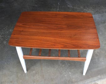 Reclaimed Two Tier End Table Mid Century Modern In Walnut With White Legs