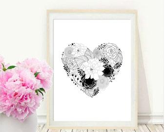 Heart Print, Printable Art, Heart and Flower Print, Black and White Art,  Modern Wall Art, Instant Download, Love Heart Print
