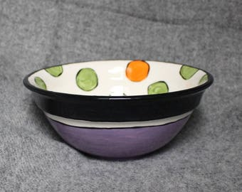 medium mixing bowl, polka dot bowl, popcorn bowl, candy bowl, salad bowl, serving bowl, wedding gift, teacher gift, orange, green, purple