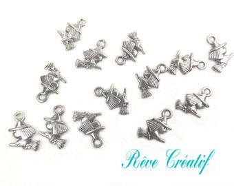 Witch Halloween pendants charms witch on broom, length 13 mm, width 11mm, thickness 3mm, hole 2mm, silver, 10 pieces