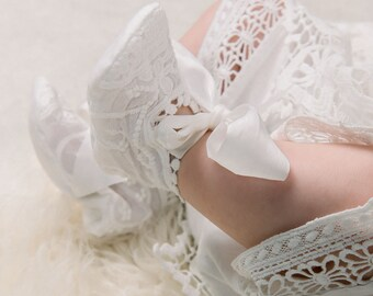 Adeline Lace Booties with Silk Ribbon Ties, Girls Baby Booties, Girls Christening