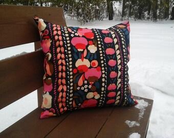 Modern pillow cover from Marimekko fabric Tuppurainen, floral Scandinavian accent pillow, pink modern throw pillow or cushion cover