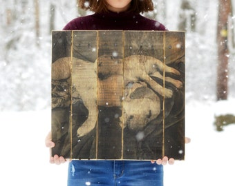 Reclaimed pallet photo rustic fall decor 5th anniversary gift personalized pallet photo Wooden anniversary pet portrait on Wood