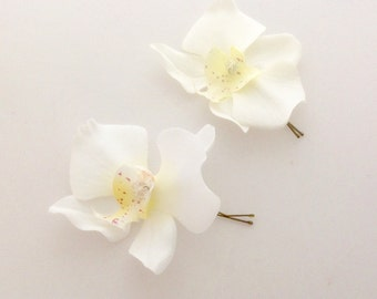 Bridal Flower Hair Pin Wedding Hair Accessory White Orchid Hair Pin White  Bridal Hair Pin White Prom Hair Pin -Ready to Ship!