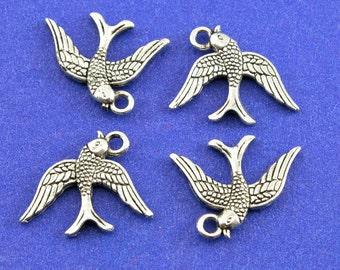 5 pcs - Sparrow Bird Charm, Silver Bird Pendant, Flying Soaring Dove, Double Sided Bird, 3-D Bird Charm