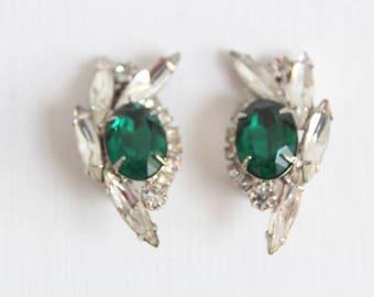 Green Earrings, Green Rhinestone Earrings, Green Clip On Earrings Emerald Green Earrings Green & Silver Earrings Rhinestone Clip On Earrings