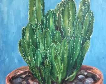 huge cactus painting, large original acrylic painting on canvas,