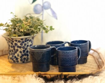 Vintage Blue Ceramic Stackable Mugs Made in Japan
