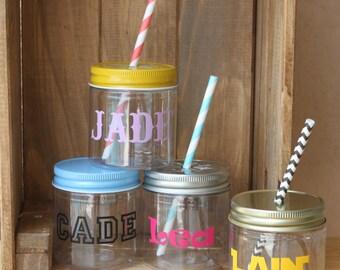 Personalized Kids Cups Plastic Mason Jars 10 Kids Mason Jar Cups Monogram Mason Jars, Kids Party Cups, Party Favors 8oz Kids Wedding Favors