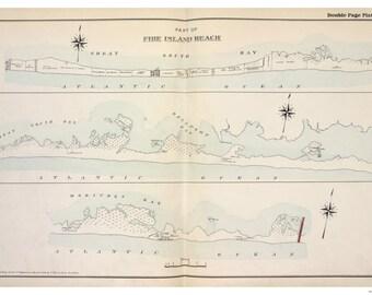 Fire Island Beach (partial) 1915 - Long Island New York - Suffolk Co Atlas V1 Town Map Reprint LI NY