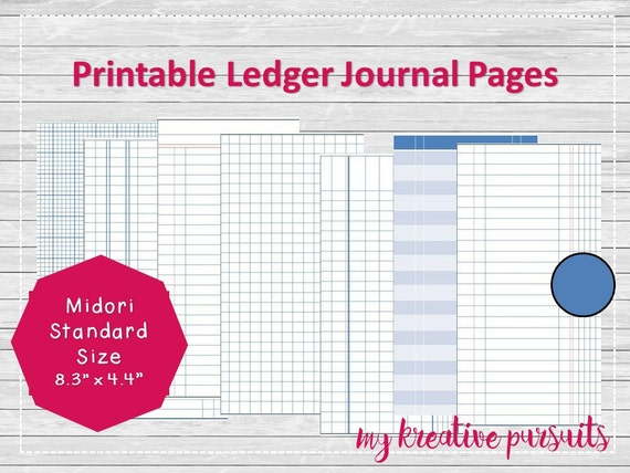 Bullet Journal Printable Pages, Ledger Papers, Midori Inserts  Printable Ledger