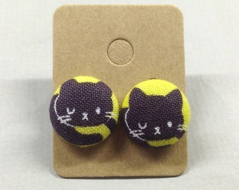 "5/8"" Size 24 Sleeping Kitty Cat Fabric Covered Button Earrings"