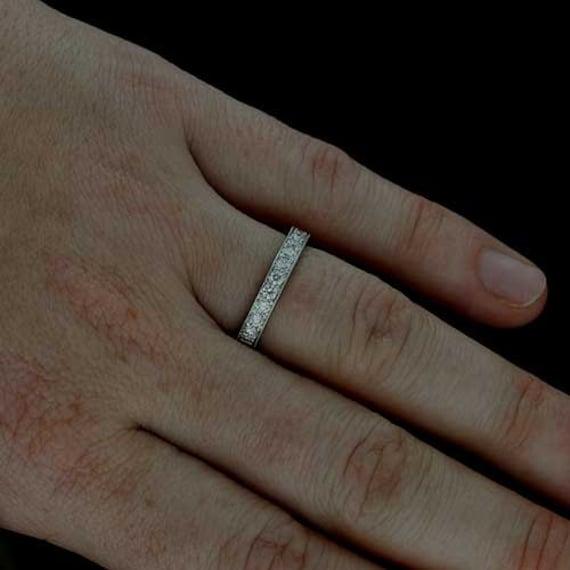 Engraved Wedding Band Diamond Wedding Ring Antique Style