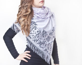 Light Purple Lace Scarf, Floral Fashion Scarf, Womens Accessories, Gift Ideas For Her, Violet Bohemian Scarf, Summer Scarf