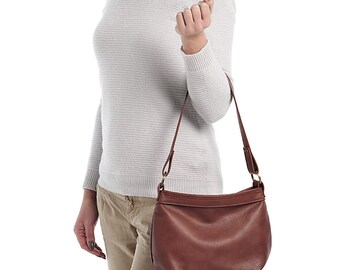 Small leather crossbody bag - Brown leather hobo bag - Small crossbody purse - SMALL HELEN