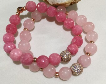 Rose Gold Micro Pave Bead | Rose Quartz Bracelet | Rose Gold Bracelet | Gemstone Bracelet | Beaded Bracelet | Stretch Healing Bracelet