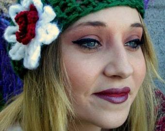 Easy Peasy Hat with Flower Crochet PATTERN