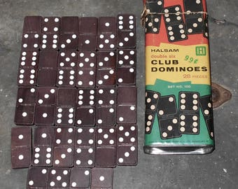 Vintage Halsam double six Club Dominoes (28 pieces) - Vintage Dominoes - Toys and Games - Playskool