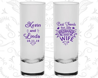 Best Friends for Life Husband and Wife Shooters, Cheap Tall Shot Glasses, Southern Wedding Shooters, Hearts, Wedding Shooters (221)