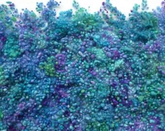 Hand-dyed blue/purple/green wool nepps