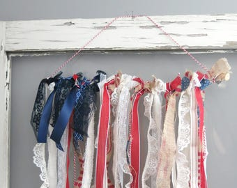 Shabby Chic Patriotic American Flag with Burlap, Lace and Ribbons