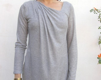 Long Sleeve Tunic With Asymmetrical Cleavage Line, Women's Grey Tunic Top
