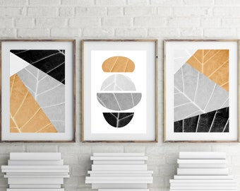 Geometric Print, Set of 3 Prints Yellow Grey Abstract Art Large Printable Art, Modern, Trendy, Geometric Wall Art Download, Geometric Poster