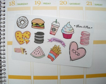 12 Food Stickers Planner Stickers | Erin Condren Filofax Happy Planner Kikki K