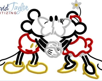 Mickey Minnie Vintage Kissing Embroidery Design 4x4, 5x7, 6x10 7x10 in 9 formats Applique - Instant Download - David Taylor Digitizing
