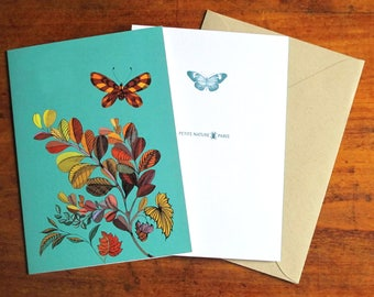 Illustrated postcard, 3,9 x 5,8, plants and butterfly