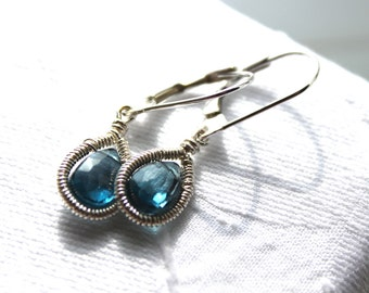 Blue Topaz Earring's -  Teardrop Earrings - Dangle Earrings- Sterling Silver- December Birthstone - Gemstone Jewelry