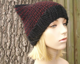 Knit Hat Womens Hat - Cat Beanie Hat in Black and Oxblood Wine Knit Hat - Black Hat Black Beanie Black Cat Hat Womens Accessories Winter Hat