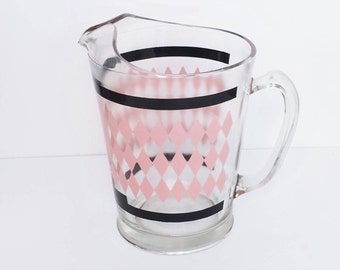 Retro Pink and Black Pitcher Diamond design Hazel Atlas glass pitcher, Retro Kitchen